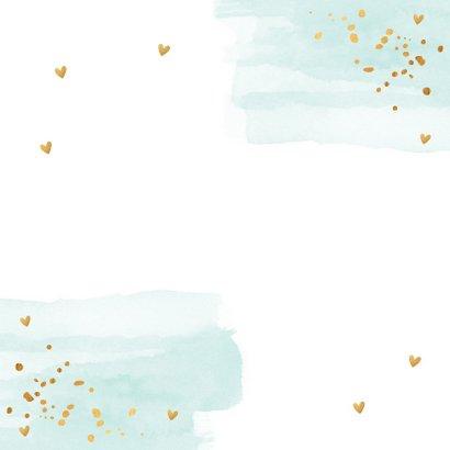 Kerstkaart waterverf mintgroen goud confetti 2