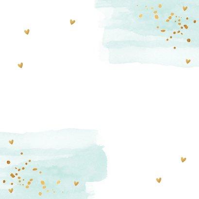 Kerstkaart waterverf mintgroen goudlook confetti 2