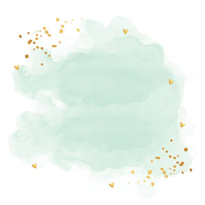 Kerstkaart waterverf mintgroen goudlook confetti Achterkant