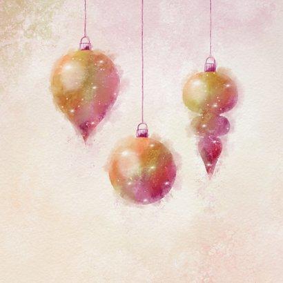 Kerstkaart waterverf sfeervolle kerstballen 2