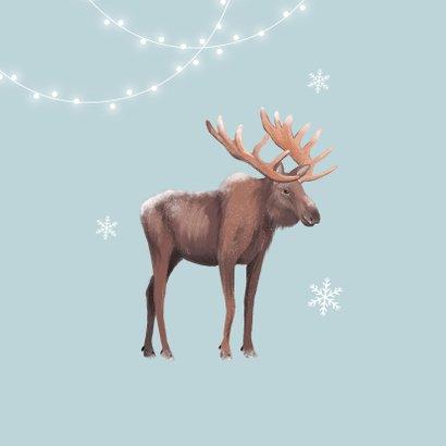 Kerstkaart winter eland lampjes sneeuwvlokken illustratie 2