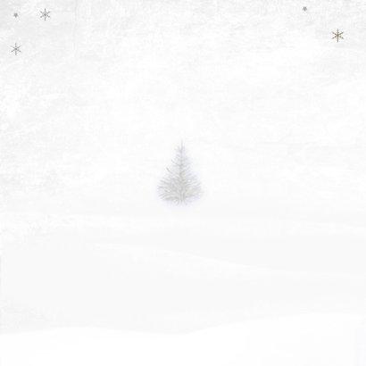 Kerstkaart winter hert Achterkant