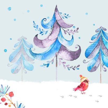Kerstkaart winter met beer, vogels en dennenbomen 2