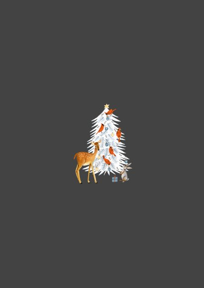 Kerstkaart winter wonderland dieren en kerstboom 2
