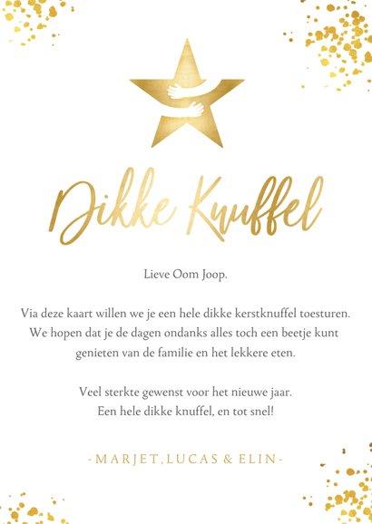 Kerstkaart wit - dikke knuffel ster in goud met omarming 3