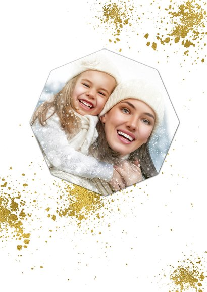 Kerstkaart wit goudspetters en diamant met foto 2
