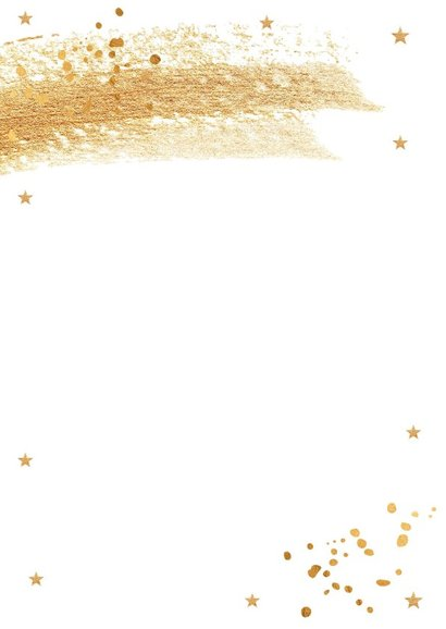 Kerstkaart wit met gouden confetti en brushstrook 2
