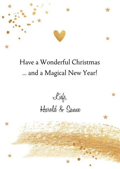Kerstkaart wit met gouden confetti en brushstrook 3