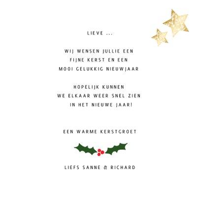 Kerstkaart wit vierkant 2 foto's - een gouden kerst 3