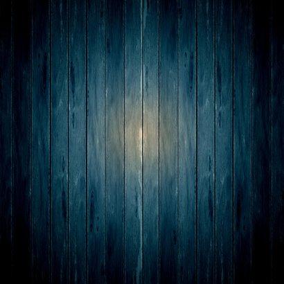 Kerstkaart witte ster op donker blauw hout Achterkant