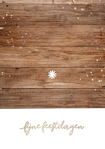 Kerstkaart zakelijk kerstboom hout sterren fotocolllage Achterkant