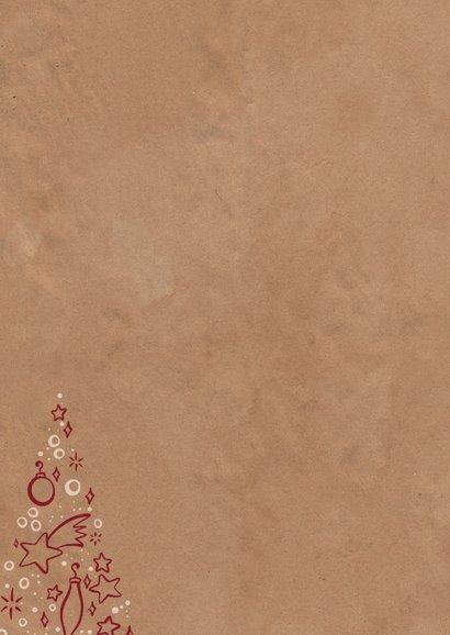 Kerstkaart zakelijk kerstboom met symbooltjes Achterkant