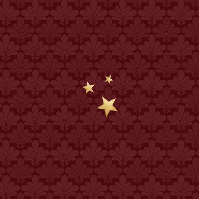 Kerstkaart zakelijk rood stijlvol goud art deco sterren Achterkant