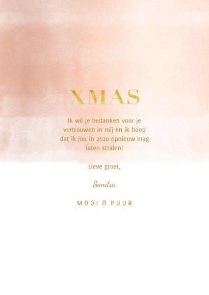 Kerstkaart zakelijk rosé gouden waterverf met fotocollage 3