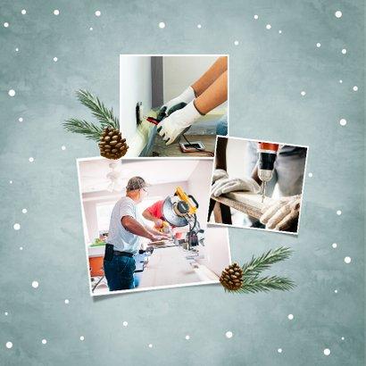 Kerstkaart zakelijk stoer met industrieel hout en lampjes 2