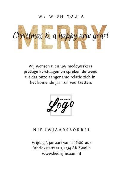 Kerstkaart zakelijke met fotocollage en goudlook letters 3