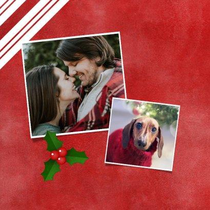 Kerstkaart zuurstok kader, grote foto, hulst en Fijne Kerst! 2