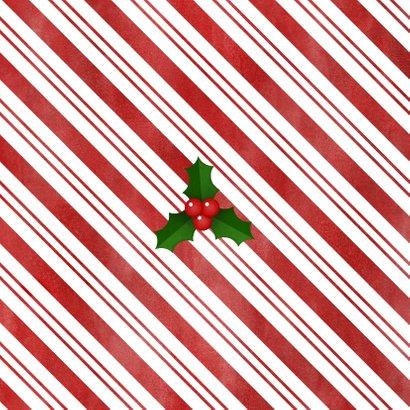 Kerstkaart zuurstok kader, grote foto, hulst en Fijne Kerst! Achterkant