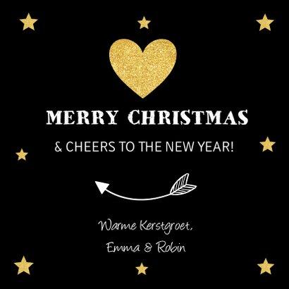 Kerstkaart zwart foto goudlook sterren typografie 3