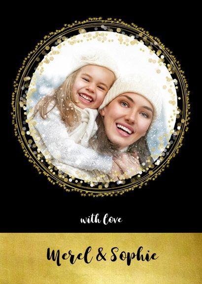 Kerstkaart zwart goud cirkels sterren en confetti 3