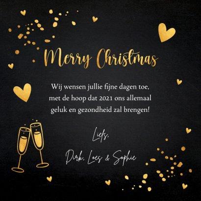 Kerstkaart zwart goudlook typografie champagne hartjes 3