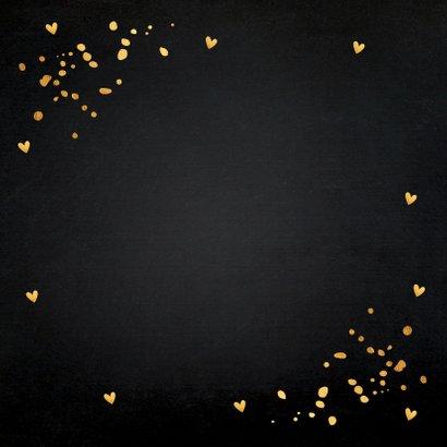 Kerstkaart zwart goudlook typografie champagne hartjes Achterkant