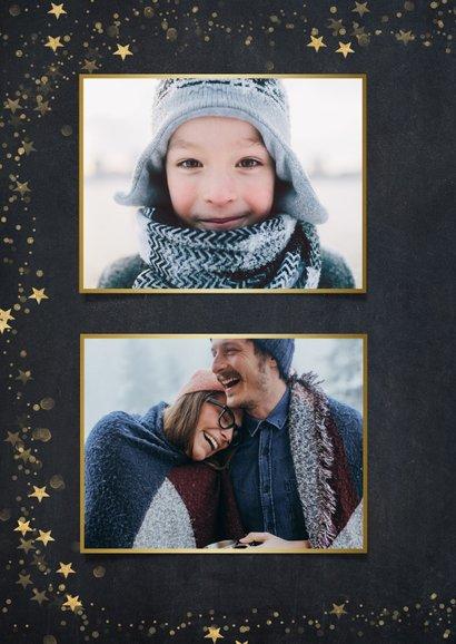 Kerstkaart zwart met gouden sterren en eigen foto 2