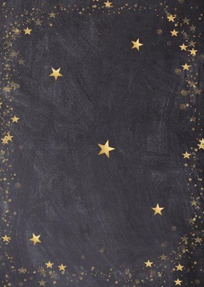 Kerstkaart zwart met gouden sterren en eigen foto Achterkant
