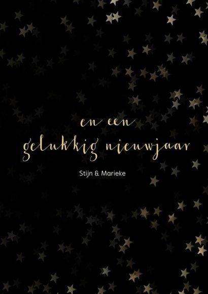 Kerstkaart zwart met sneeuwvlok van goud - een gouden kerst 3
