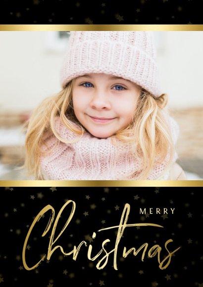 Kerstkaart zwart sterren met gouden accent en foto 2