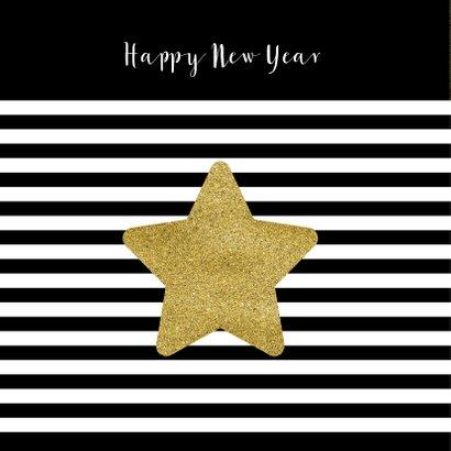 Kerstkaart zwart wit goud kerst ster goud 2