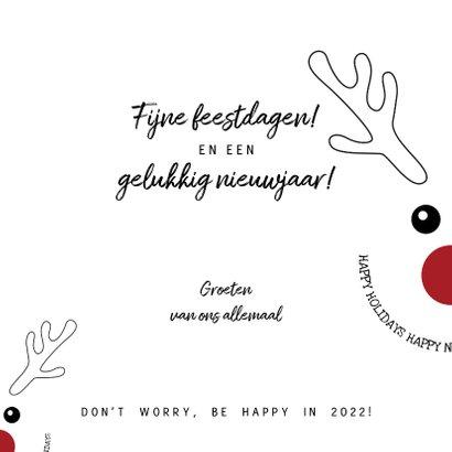 Kerstkaart zwart-wit met grappige illustratie rendier 2022 3