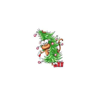 kerstkaarten aap met kerstboom en Corona de wereld uit Achterkant