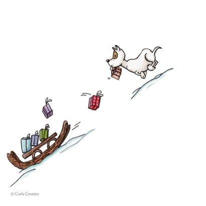 Kerstkaarten Odey met slee vol cadeautjes 2