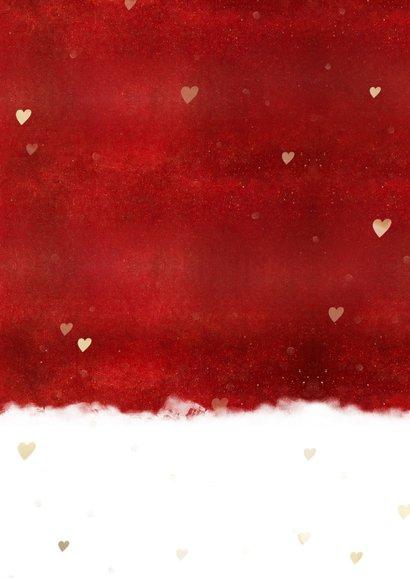 Kerstknuffel kerstkaart hart voor Corona ziekte of verdriet Achterkant