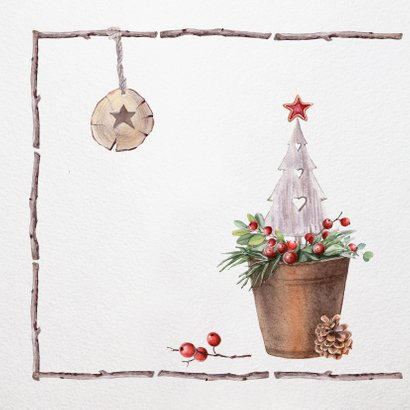 Kerstkrans met houten kader -foto- 2