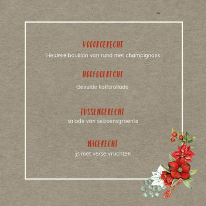 Kerstmenu botanical 3