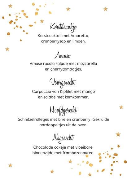 Kerstmenukaart confetti goudlook 3