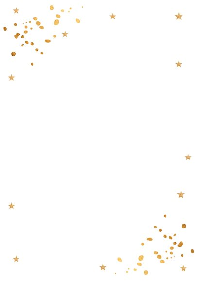Kerstmenukaart confetti goudlook Achterkant