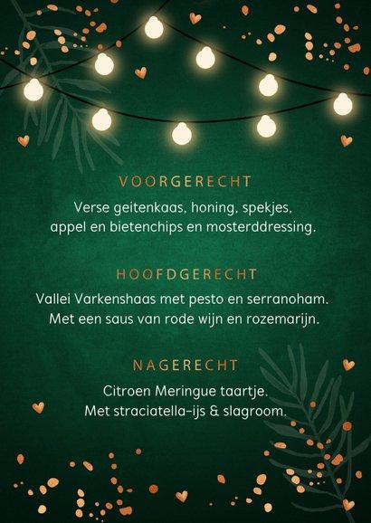 Kerstmenukaart donkergroen confetti koperlook 3