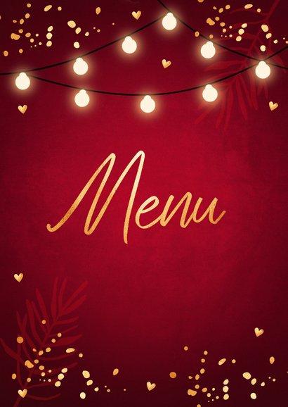 Kerstmenukaart lampjes confetti goudlook 2