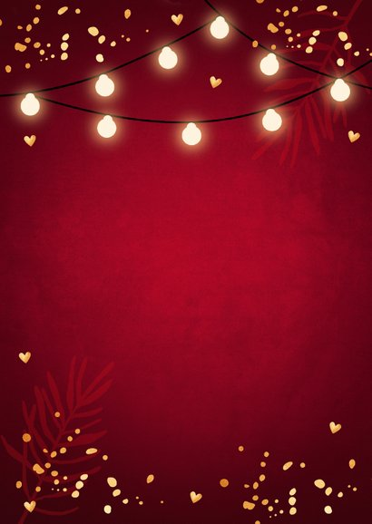 Kerstmenukaart lampjes confetti goudlook Achterkant