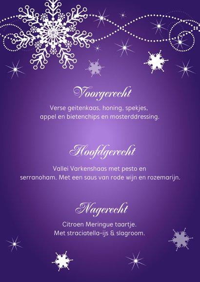 Kerstmenukaart paars sneeuwvlokken champagneglazen 3