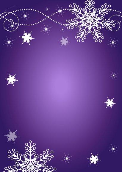 Kerstmenukaart paars sneeuwvlokken champagneglazen Achterkant