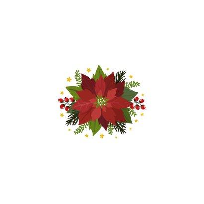 Kerstster kerstkaart met bloemen en planten Achterkant