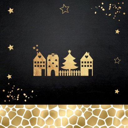 Kerstverhuiskaart foto huisjes panterprint goudlook 2