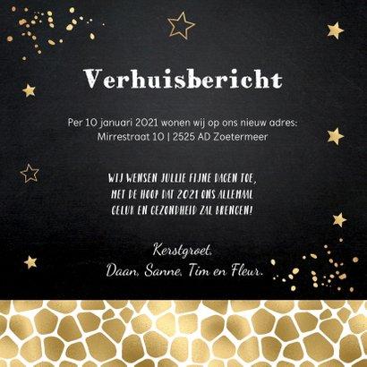 Kerstverhuiskaart foto huisjes panterprint goudlook 3