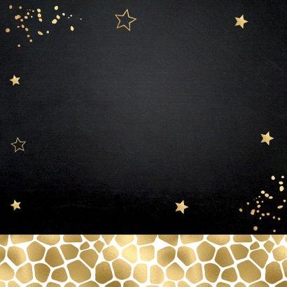 Kerstverhuiskaart foto huisjes panterprint goudlook Achterkant