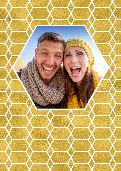 Kerstverhuiskaart goud honingraat en foto huis 2
