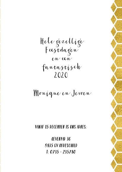 Kerstverhuiskaart goud honingraat en foto huis 3